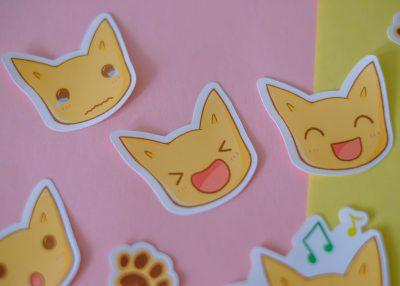 cat stickers faces