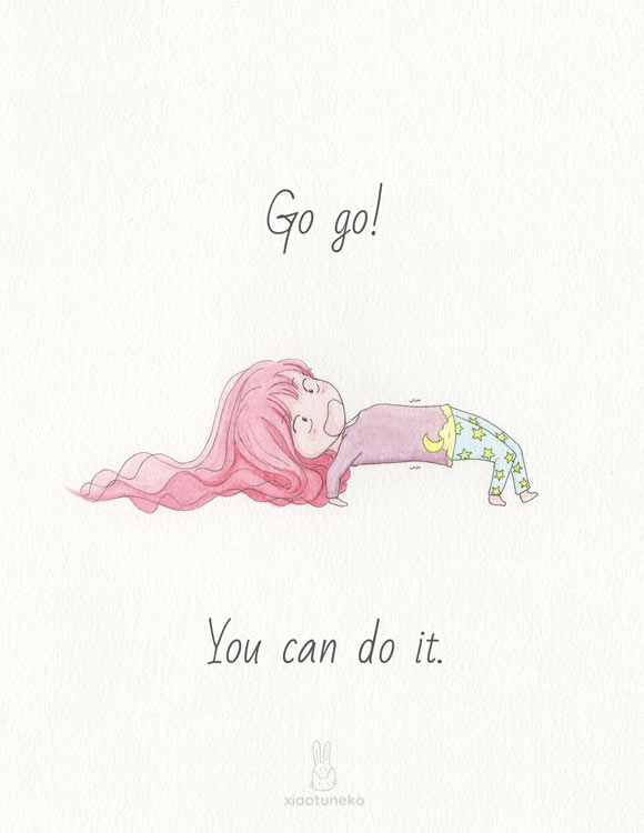 Go go! You can do it greeting card Xiaotuneko Ting Fen Zheng