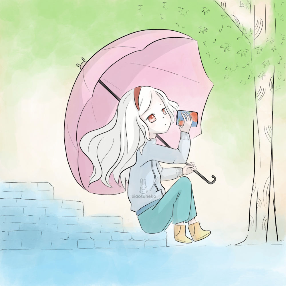 Girl with umbrella on bench drinking