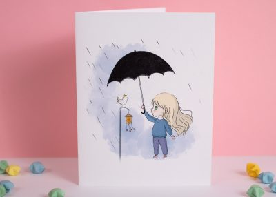 bird rain greeting card xiaotuneko