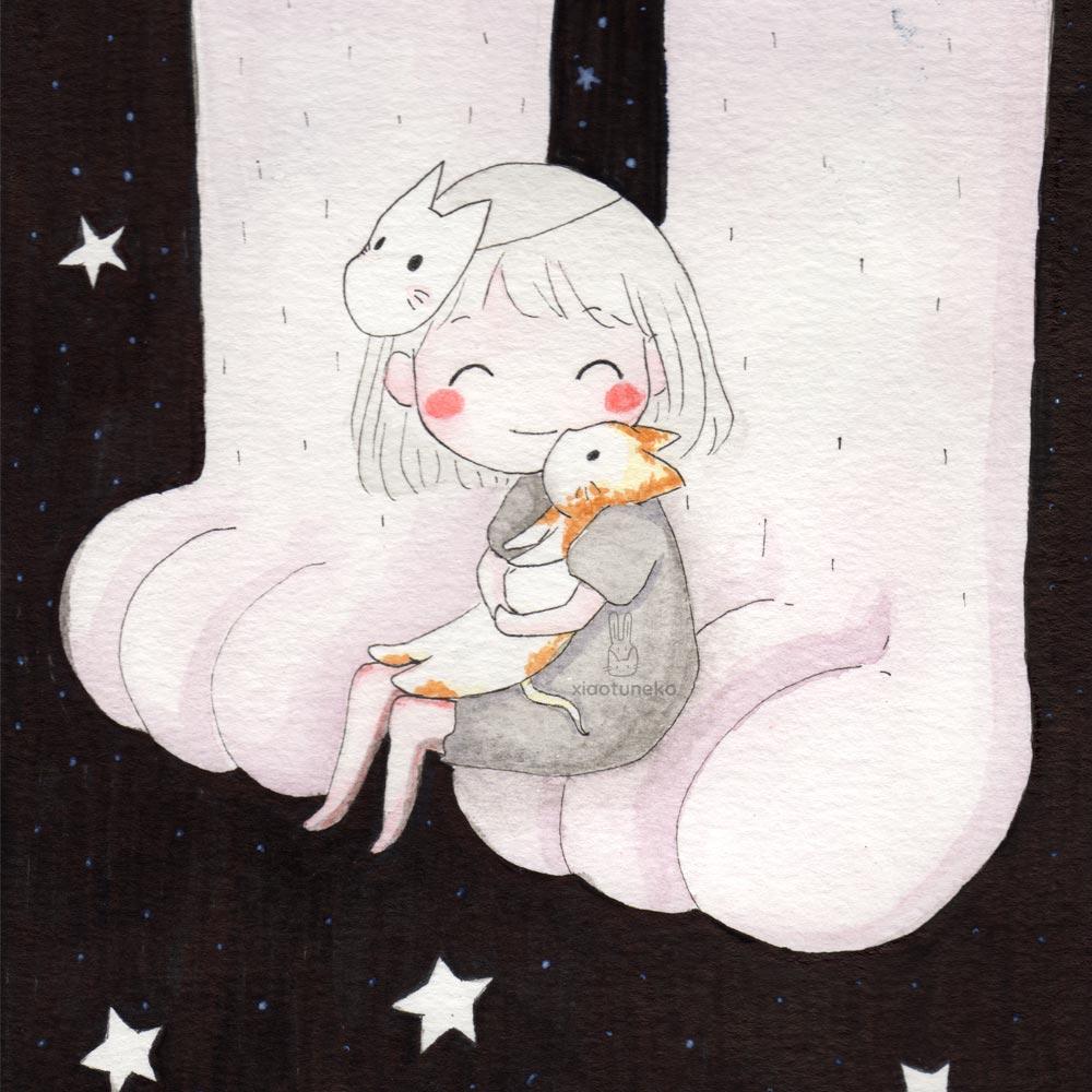 cat big foot stars xiaotuneko