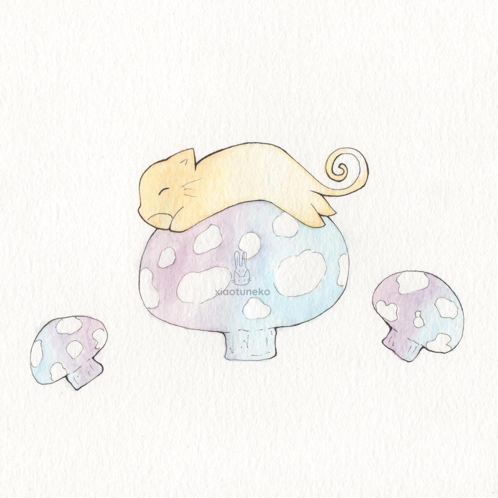Cat on Mushrooms Xiaotuneko