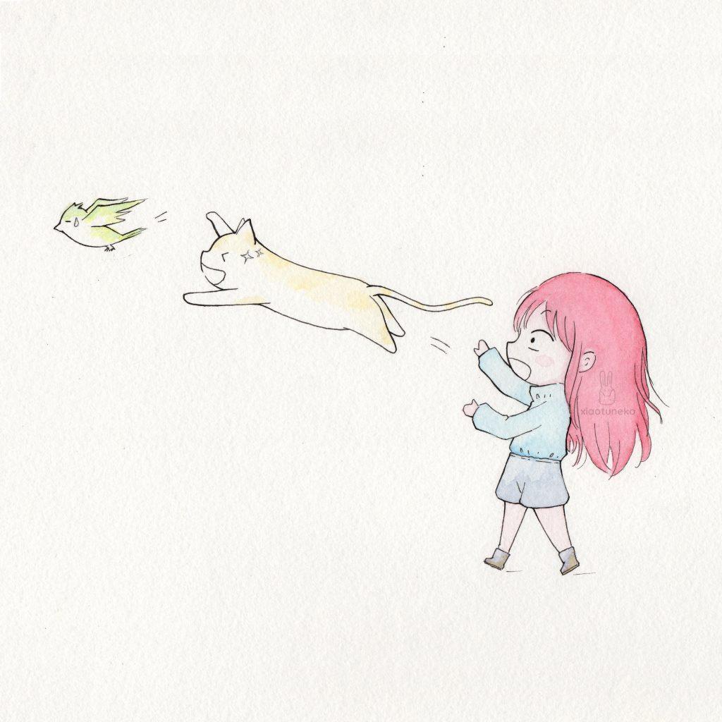 Flight Cat Bird Dreamweek Xiaotuneko
