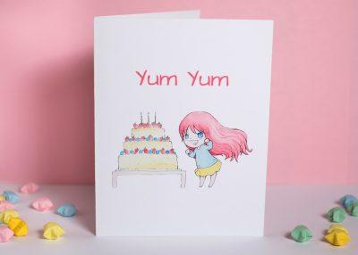 yum yum cake greeting card