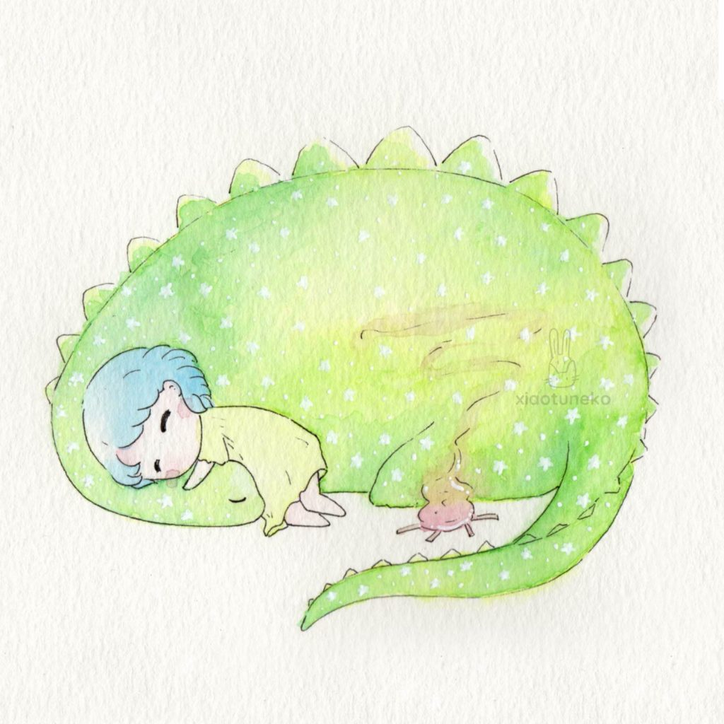 Cute girl sleeping with dinosaur Xiaotuneko