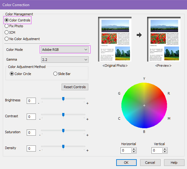 Epson Color Correction setting