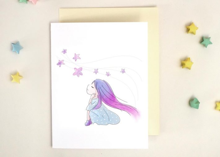 Girl Daydreaming Stars Greeting Card Xiaotuneko