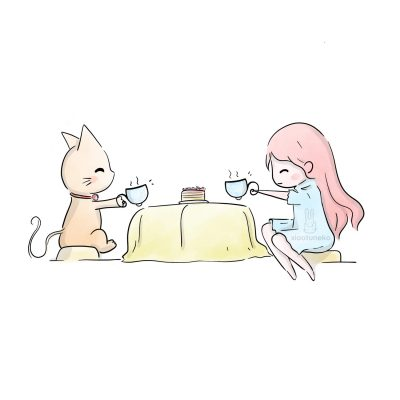 Tea Time Girl with Cat Xiaotuneko