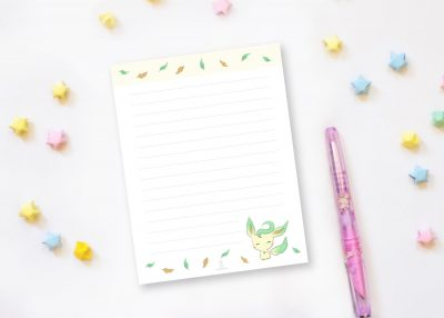 leafeon pokemon smiling notepad xiaotuneko