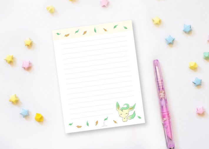 leafeon pokemon smiling notepad xiaotuneko