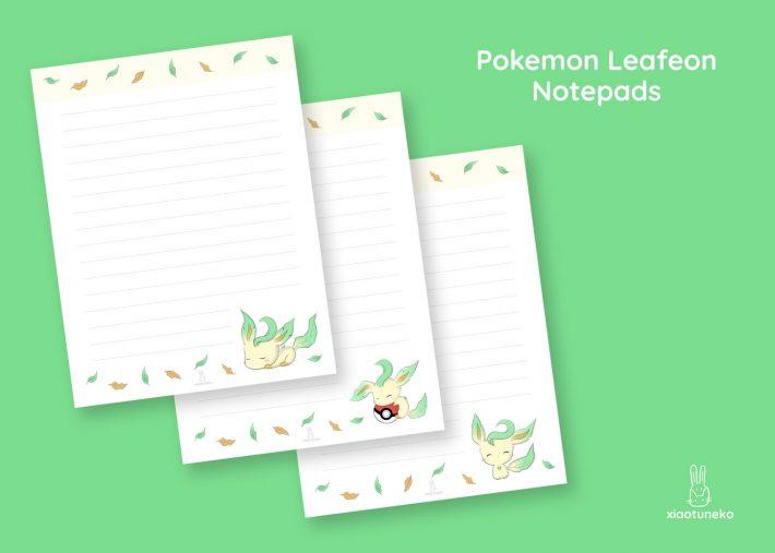 pokemon leafeon notepads xiaotuneko