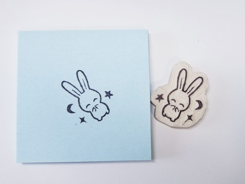 stamp carving of a rabbit